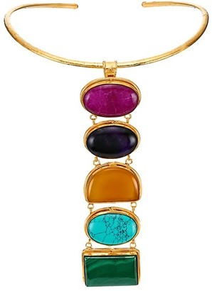 Sylvia Toledano Torque Goldtone & 5 Mixed-Stone Collar Necklace