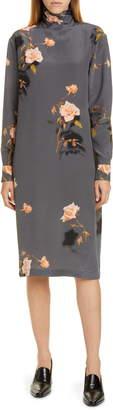 Dries Van Noten Dontisy Rose Print Silk Long Sleeve Dress