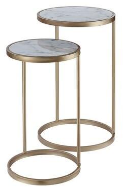 Orren Ellis Roark 2 Piece Nesting Table Table Base Color: Gold, Table Top Color: Mirror