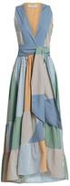 Silvia Tcherassi Harmony Belted Patchwork Pinstripe Maxi Dress