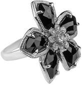 Fine Jewellery Diamonds and Sterling Silver Onyx Ring