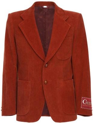 Gucci Logo Label Cotton Corduroy Jacket