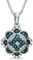 Zales 1/4 CT. T.W. Enhanced Blue and White Diamond Vintage-Style Clover Pendant in Sterling Silver