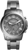 Fossil Men's Chronograph Grant Gray Ion-Plated Stainless Steel Bracelet Watch 44mm FS5256