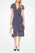 Michael Kors Navy Polka-Dot-Geogette-Wrap Dress