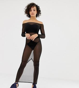 Asos Design DESIGN x LaQuan Smith off shoulder midi dress in mesh