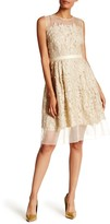 Carmen Marc Valvo Embroidered Metallic Lace Knit Dress