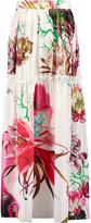 Roberto Cavalli Ruffled printed silk-satin maxi skirt