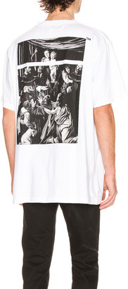 Off-White Caravaggio Square Short Sleeve Tee in White & Multi | FWRD