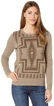 Pendleton Harding Lambswool Crew Neck Sweater (Taupe/Nutmeg Heather) Women's Clothing