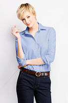 Lands' End Women's Petite Long Sleeve Straight Collar Oxford Sportshirt