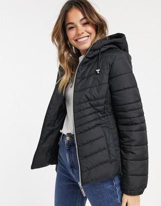 New Look hooded full length puffer jacket in black