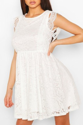 boohoo Lace Tiered Skirt Skater Dress