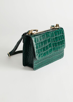 And other stories Croc Leather Crossbody Bag