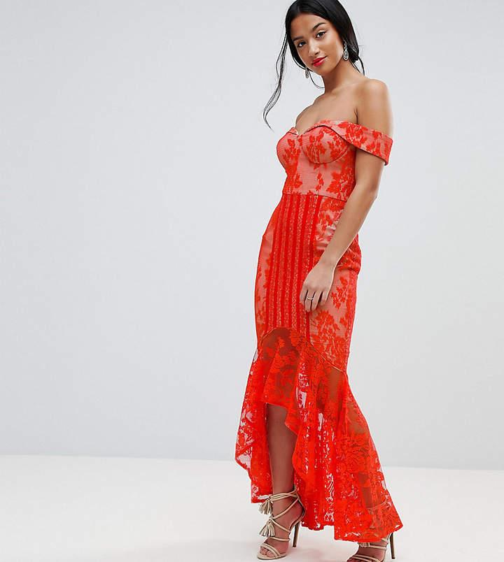 Jarlo Petite All Over Lace Off Shoulder Fishtail Midi Dress