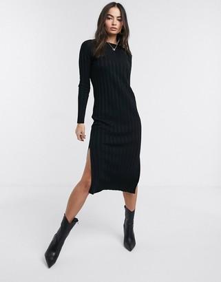 Asos Design DESIGN fine knit ribbed midi dress-Black