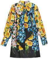 Gucci Florage print satin dress with bow