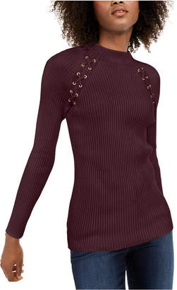 INC International Concepts I.n.c. Lace-Up Sweater