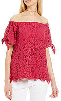 Miss Chievous Off-The-Shoulder Tie-Sleeve Lace Top