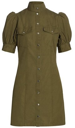 The Kooples Army Puff-Sleeve Mini Dress