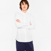 Paul Smith Men's Slim-Fit White Shirt With 'Cycle Stripe' Cuff Lining