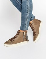 Juicy Couture Taupe Nubuck High Top Sneakers
