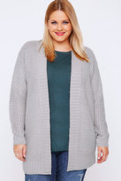 Yours Clothing Grey Knitted Longline Cardigan With Ribbed Border