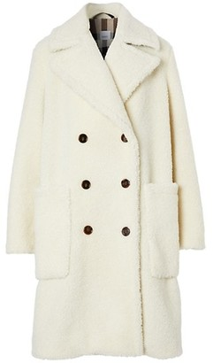 Burberry Selby Oversized Double-Breasted Teddy Coat