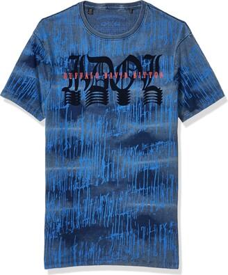 Buffalo David Bitton Men's Short Sleeve Crew Neck t-Shirt Indigo wash with Bleach