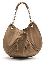 Suede Zip Pocket Slouch Handbag