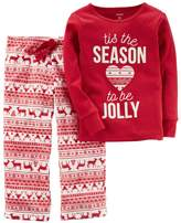 "Carter's Girls 4-14 Tis the Season to be Jolly"" Christmas Top & Microfleece Bottoms Pajama Set"