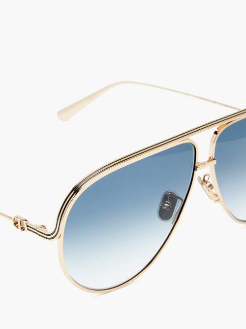 Thumbnail for your product : Christian Dior Everdior Aviator Metal Sunglasses - Blue Gold