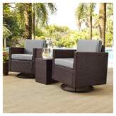 Crosley Palm Harbor 3pc All-Weather Wicker Patio Conversation Set Cushions w/Swivel Chairs