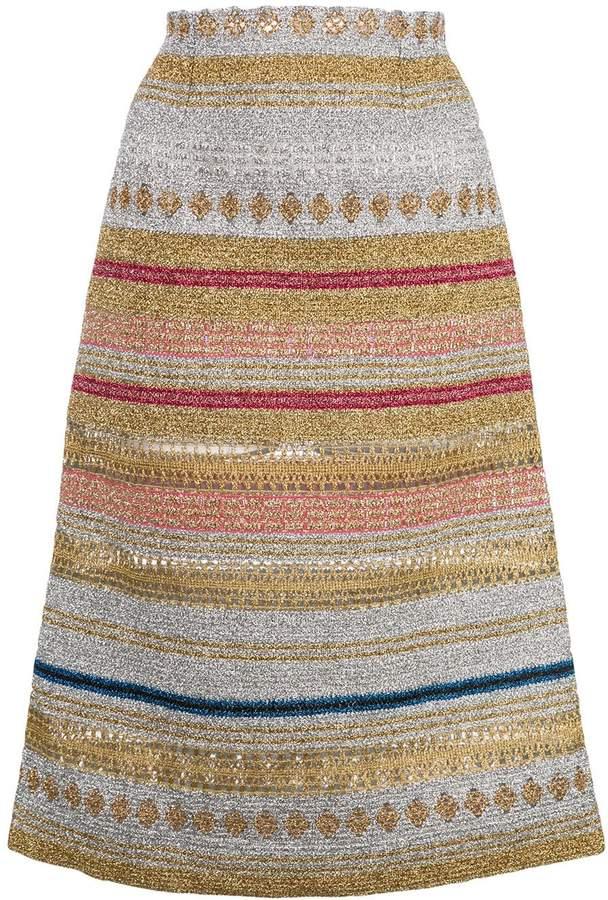 Molly Goddard metallic striped midi skirt