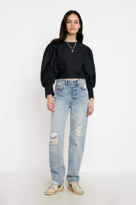 BDG Reuben Distressed Straight Leg Jeans - blue 27W 30L at Urban Outfitters