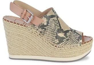 Dolce Vita Shan Snake-Embossed Leather Slingback Espadrille Platform Sandals