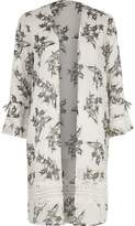 River Island Womens Cream floral print lace insert duster
