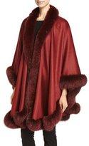 Sofia Cashmere Cashmere Fox Fur-Trim Cape, Brick