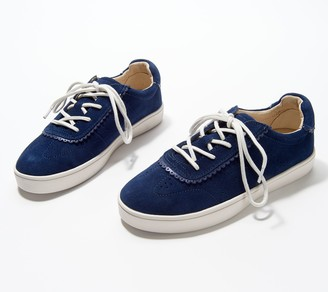 Spenco Orthotic Leather Scallop Trim Sneakers - Camden