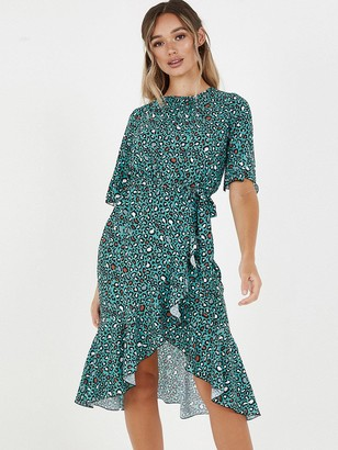 Quiz Crepe Leopard Print ShortSleeve Frill Midi Dress - Teal