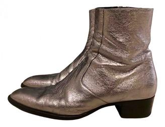 Saint Laurent Wyatt Silver Leather Boots