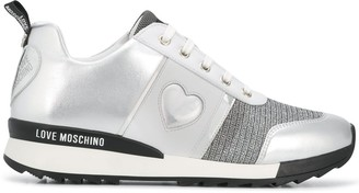 Love Moschino Heart Metallic-Knit Sneakers