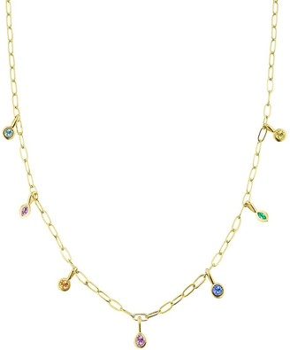 Sorellina 18kt yellow gold sapphire Rainbow Bezel necklace