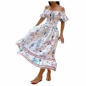 KPILP Womens Boho High Waisted Dress Off Shoulder Floral Print Short Sleeve Vintage Ethnic Style Fashion Slim fit Plus Size Summer Long Dresses for Ladies Daily Dress(White L)