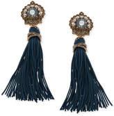 Marchesa Gold-Tone Crystal & Imitation Pearl Tassel Drop Earrings