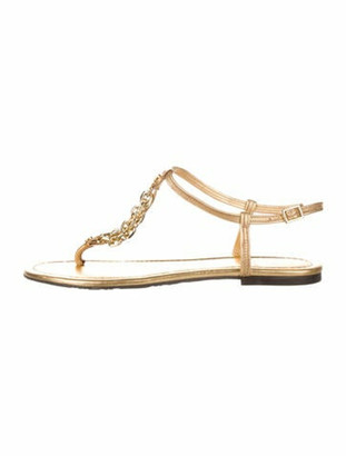 Tory Burch Leather Chain-Link Accents T-Strap Sandals Gold