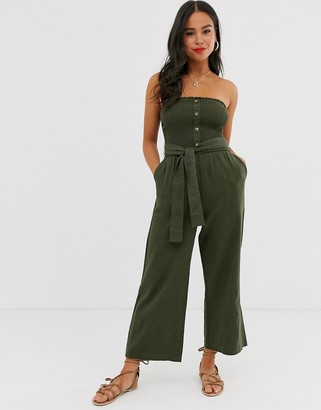 Abercrombie & Fitch bandeau wide leg jumpsuit with belt detail-Green