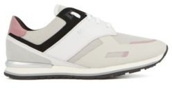 BOSS Low-top trainers with leather panels and rubber sole