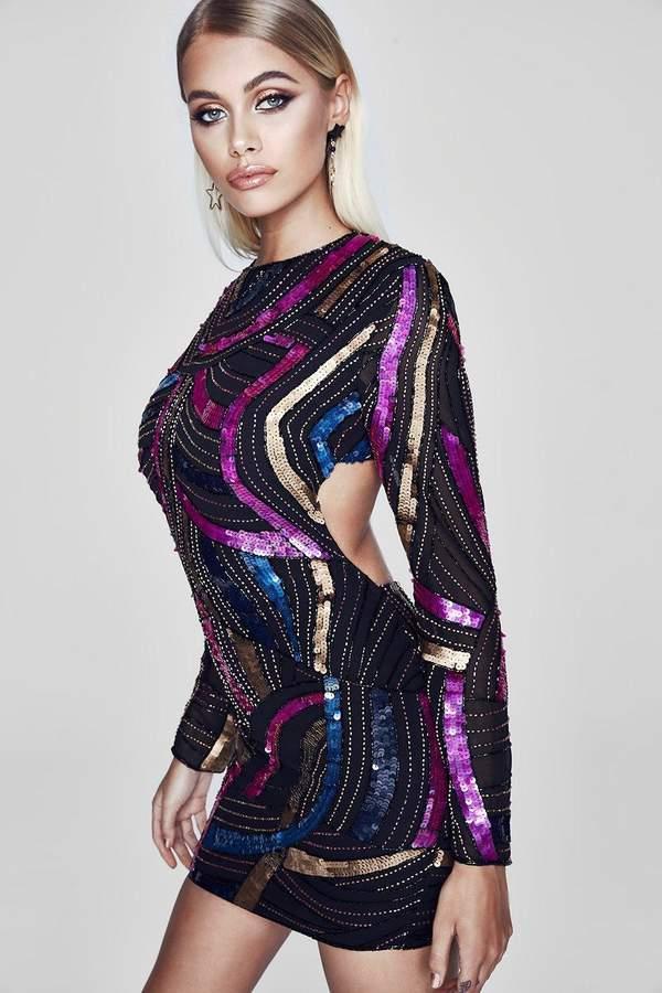 boohoo Premium Open Back Embellished Mini Dress