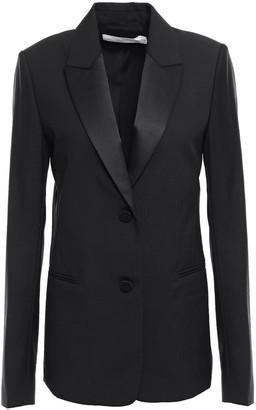 Victoria Beckham Satin-trimmed Wool And Mohair-blend Blazer